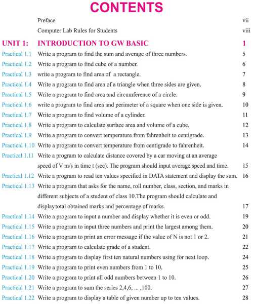 Computer-Practical-Book-10th-Class-English-Medium-contents-page
