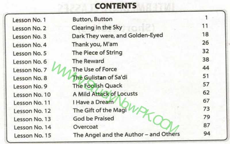 English-Book-1-FSc-Part-1-contents