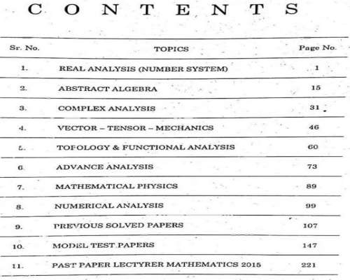 Math Lecturer SS & SSS PPSC - FPSC & NTS Book Contents Page
